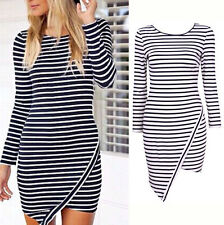 New Sexy Womens Bodycon Long Sleeve Party Evening Bandage Pencil Striped Dress