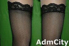6 Pairs Fishnet Thigh High Stockings with Lace Top Highly Stretchable Black Red