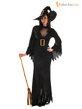 Ladies Sexy Long Black Witch Costume + Hat Womens Halloween Fancy Dress  8-14