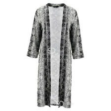 AI89 Ladies Snakeskin Print Duster Jacket Womens Long Sleeve Open Front Coat