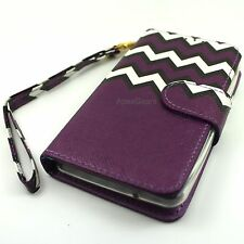 Universal Purple Black White Chevron Slide Up Wristlet Wallet Cover Case For HTC