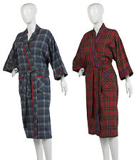 Waites Tartan Check Lightweight Dressing Gown Ladies 100% Cotton House Coat Robe