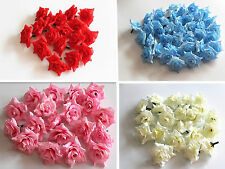 10pcs/100pcs Multicolor Silk Flower Rose Head Wedding Party Decoration 1.8""