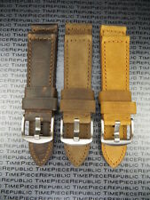 24mm Genuine Leather Strap Brown Tang Assolutamente Watch Band for PANERAI BKL