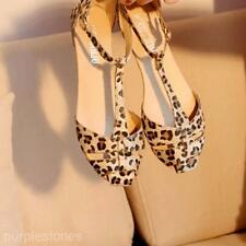 Leopard Print T-Strap Flat Sandal Women Lady Girl Summer Pointy Toe Sandal Shoes