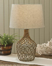 """Sea Bottle Jug Lamp with Shade by Park Designs, 23.5"""" High, Burlap, Beach Style"""