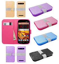 For Boost Mobile ZTE Warp Sync Bling Diamond Wallet Case Flip Pouch Phone Cover