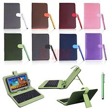"""Universal 7"""" Tablet Faux Leather Case Cover with Micro USB Keyboard and Stylus"""