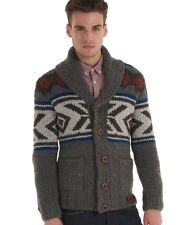 New Mens Superdry Faroe Super Shawl Cardigan Grey Nep