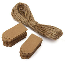 100pcs Brown Kraft Paper Gift Tags Scallop Label Blank Note with Hanging String