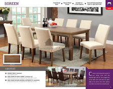 Soreen Natural Wood Finish Light Oak Dining Table 6 Chairs Faux Leather Fabric