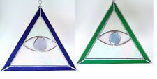 All Seeing Eye Egyptian Pyramid stained glass Panel suncatcher Art handmade New