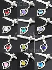 Sterling Silver Charm Birthstone Love Bead For European bracelet U Pick @#ECB2