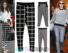 Womens Trousers Straight Leg High Waisted Pants Celeb Inspired Checked Plaid New