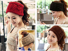 hot Women Knitted Bow woolen yar Headband Winter Ear Warmer Headwrap 4colors