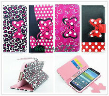 Polka Dot Big Bowknot Flip Leather Wallet Case TPU Cover Stand For Mobile Phones