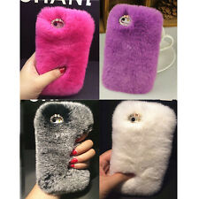 New rex rabbit fur Crystal Shell Case sleeve plush fur for iphone 4/4s /6/6 Plus
