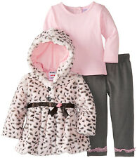 Peanut Buttons Toddler Girls 3 Piece Pink Faux Fur Coat Gray Leggings Set