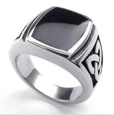 Mens Stainless Steel Ring, Celtic Knot Signet, Black Silver New