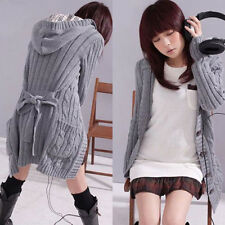 WOMENS HOODED WINTER CARDIGAN LONG SWEATER KNITTED COATS KNITWEAR JUMPER JACKET