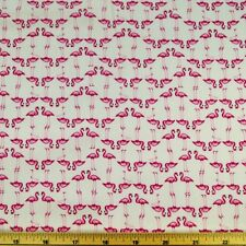 Small Pink Flamingos On The Lake In Lines 100% Cotton Poplin Fabric