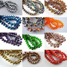 50Pcs Faceted Glass Crystal Jewelry Findings Rondelle Loose Spacers Beads 10mm