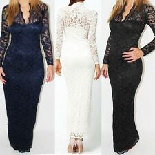 Womens Lace Long Formal Evening Gown Bridesmaid Prom Dress Wedding Party Dresses
