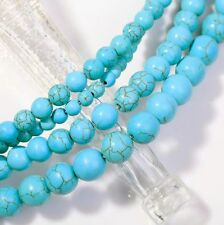 Blue Turquoise Gemstone Round Loose Beads For Jewelry 4mm 6mm 8mm 10mm