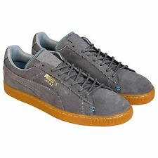 Puma Mens Suede Classic Crafted Gray  Suede Lace Up Sneakers Shoes