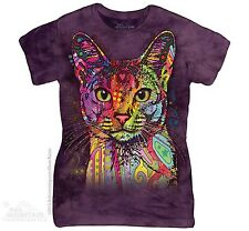 Russo Rainbow Abyssinian Cat Face The Mountain Women Ladies Size T-Shirts