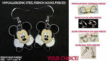 Artisan MICKEY Posing Mouse **CHOOSE TYPE** Charm Pierced OR Clip On Earrings