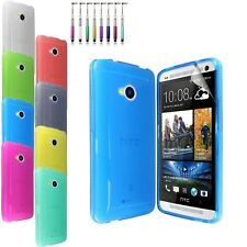 New Glossy Transparent Soft TPU Gel Case Cover FOR HTC One M7+Screen Protector