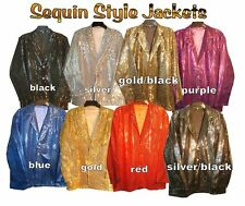 New mens boy glitter sequin material lined 3 button top pocket 70s retro jacket