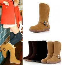 Womens Ladies Winter Faux Suede Fur Lined Buckle Strap Ankle Boots Shoes A999-1