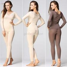 Ladies Womens Solid Multicolored Seamless Thermal Shapewear Underwear 2Pcs Suits