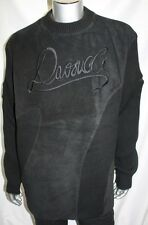 Men's Davoucci 100% Genuine Leather BLACK  SUEDE Crewneck Sweater