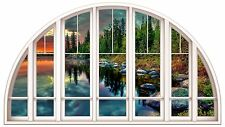 Huge 3D Arched Window Enchanted Mountain River View Wall Stickers Film Decal