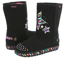 NEW SKECHERS BLOOMS STARS BLACK TWINKLE TOES BOOTS