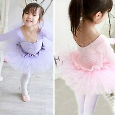 Girls Kids Ballet Dance Wear Party Tutu Dress Skirt Leotard Skating Costume 4-7