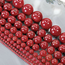 """Red Sea Coral Round Beads 15"""" ,2 3 5 6 7 10 11 12 16 18mm , pick your size"""