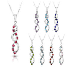 Gemstone Infinity Pendant Necklace with Diamond accent 1/3 Carat Sterling Silver