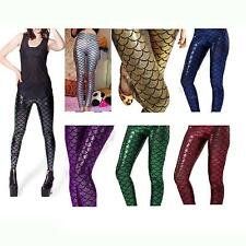Hot Fashion Women's Mermaid Fish Scale Skinny Stretch Slim Pants Leggings