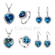 Fashion Rhinestone Crystal Blue Ocean Heart Necklace Earring Ring Jewelry Set