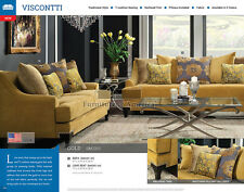 Visconti Silver or Gold Sofa and Loveseat Couch Tufted Nailhead Los Angeles
