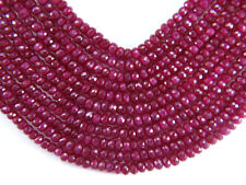 """Precious RUBY 4-5 mm (10 loose FACETED Rondelle) Beads """"A+"""" (Select-A-Size)"""