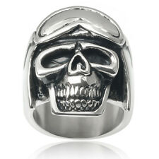 Vance Co. Men's Stainless Steel Flying Hat and Goggles Skull Ring