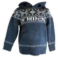 Animal Hooded Striped Boy's Indigo Nordic Fair Isle Pull Over Hooded Top New