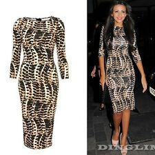 Sexy Autumn Winter Women Leopard Print Bandage Evening Party Bodycon Midi Dress