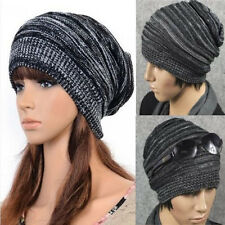 Unisex Womens Mens Knit Baggy Beanie Beret Hat Winter Warm Oversized Ski Cap New