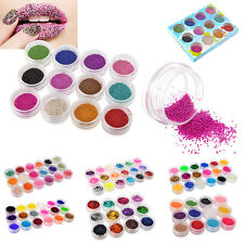 Nail Art 12/18 Color Acrylic UV Gel Glitter Powder Beads Decoration Tips Kit Set
